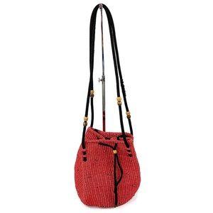 Vtg Red Woven Guatemala Crossbody Bucket Bag Boho